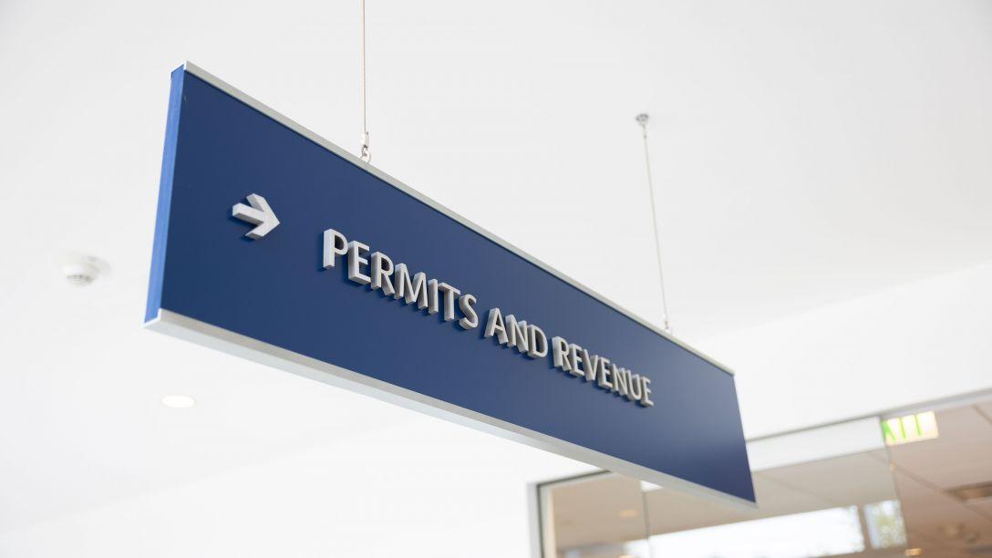 Permits and Revenue Desk Entrance Sign
